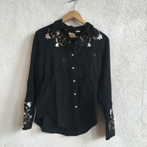 SCULLY BLACK FLORAL WESTERN SHIRT S